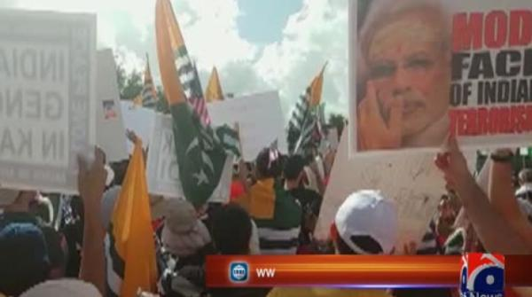 Trump, Modi attend rally in Houston amid occupied Kashmir protests