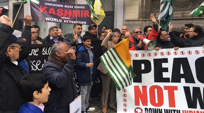 Kashmir-Council EU holds Black Day protest in Belgium capital