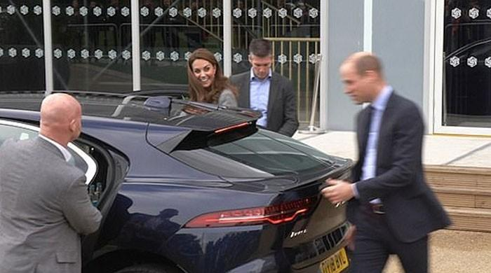 Prince William jumps in to help Kate Middleton as she almost trips: Watch