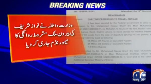 Nawaz on ECL: Interior ministry issues memo
