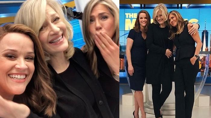 Jennifer Aniston, Reese Witherspoon on cloud nine as Diane Sawyer visits them on set