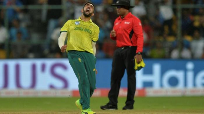 South African bowler takes wicket, performs magic trick