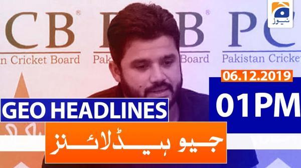 Geo Headlines 01 PM | 6th December 2019