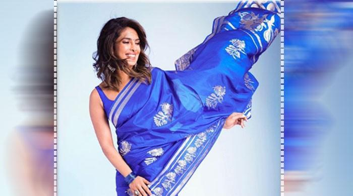 Priyanka Chopra ups the style quotient with her sapphire saree
