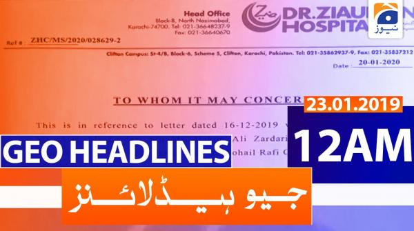 Geo Headlines 12 AM | 23rd January 2020