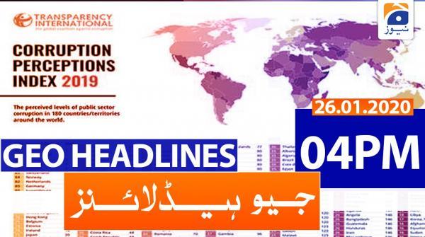 Geo Headlines 04 PM | 26th January 2020