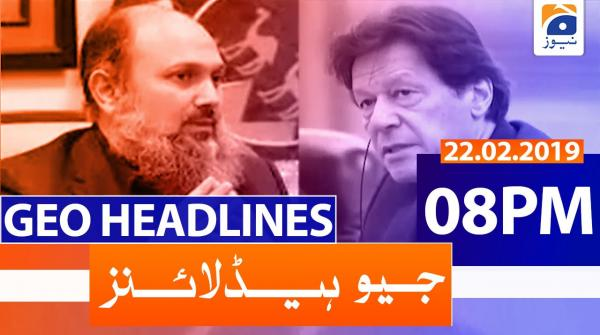 Geo Headlines 08 PM | 22nd February 2020
