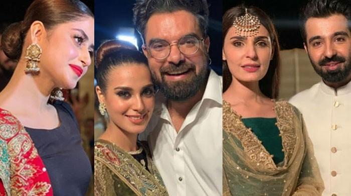 Sajal Ali, Iqra Aziz, Yasir Hussain flaunt dance moves at Sadia and Hassan's dholki