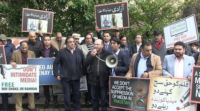UK protests demand release of MSR, condemns shutdown of Geo
