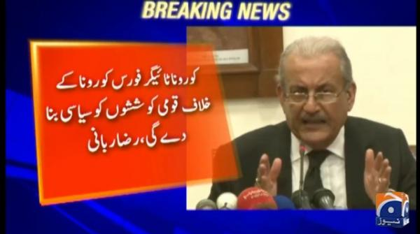 Raza Rabbani advises PM Imran against formation of 'corona tiger force'