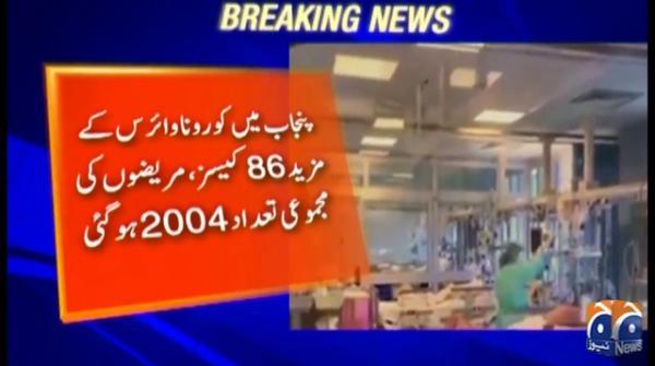Punjab's total coronavirus tally reaches 2,004