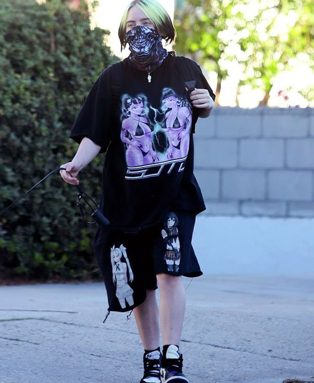 Billie Eilish Wears Black Shirt With A Special Message On The Front During A Walk