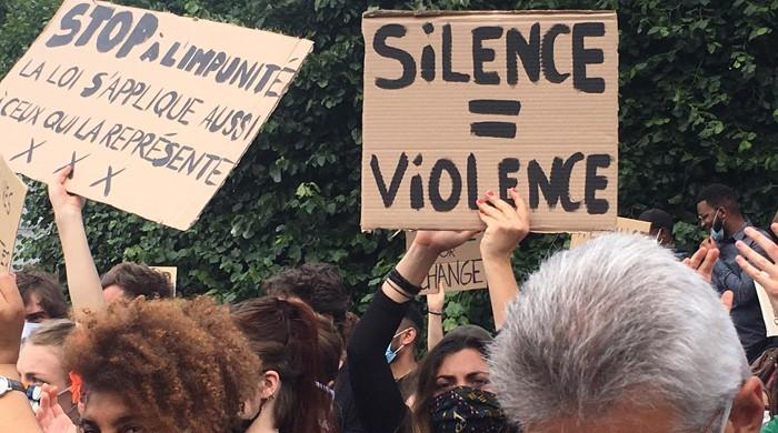 'Silence is violence': Protesters in Brussels show solidarity with George Floyd