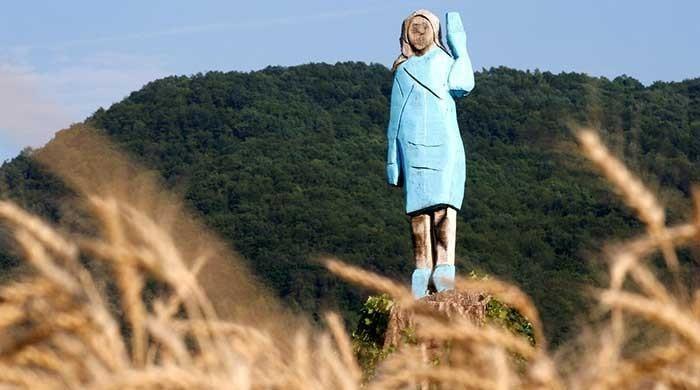 Melania Trump's statue set on fire in Slovenia