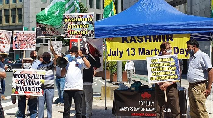 Kashmir Martyrs' Day: KC-EU holds protest camp at EU foreign office