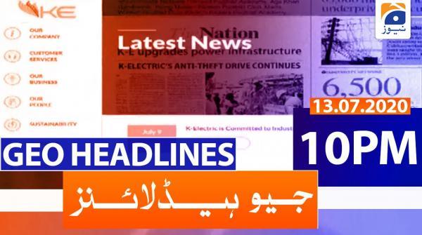 Geo Headlines 10 PM | 13th July 2020
