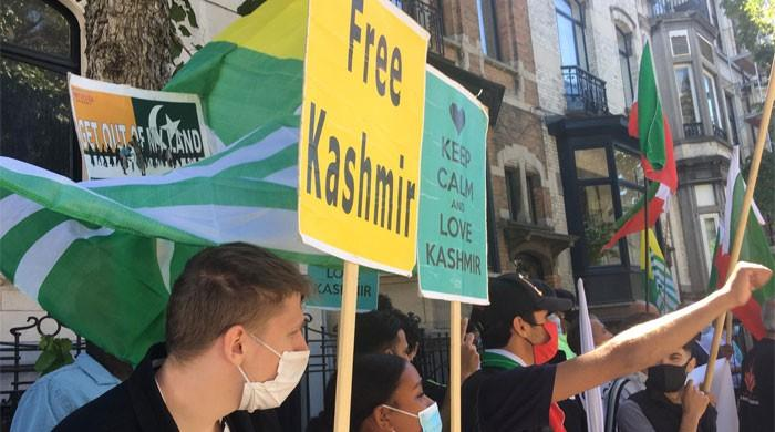 Demonstration against India's aggression, violence on Youm-e-Istehsal Kashmir in Belgium