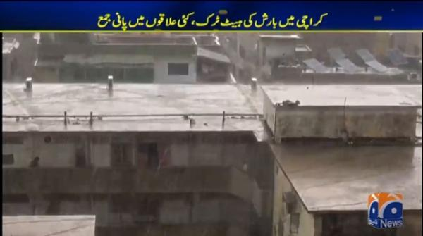 Water accumulates in several areas as Karachi sees rain for third consecutive day