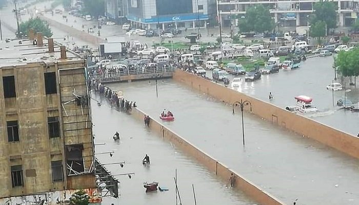 Clifton underpass flooded with rain water. Photo: Geo.tv