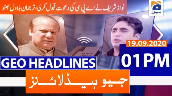 Geo Headlines 01 PM | 19th September 2020