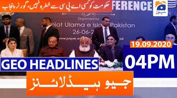 Geo Headlines 04 PM | 19th September 2020