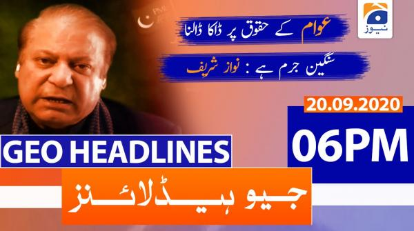 Geo Headlines 06 PM | 20th September 2020