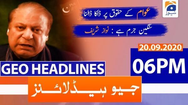 Geo Headlines 06 PM | 20th September 2020