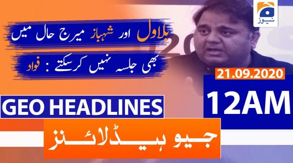 Geo Headlines 12 AM | 21st September 2020
