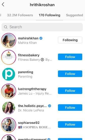 Hrithik Roshan following Mahira Khan