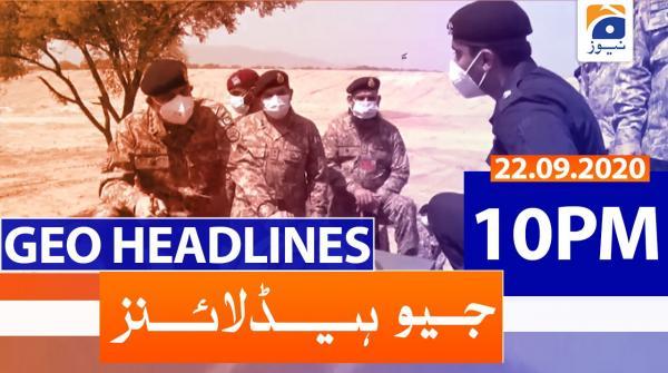 Geo Headlines 10 PM   22nd September 2020