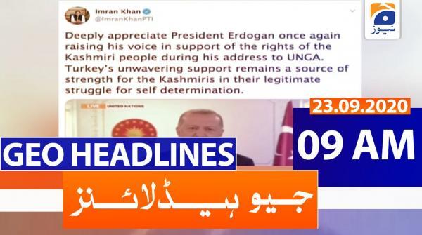 Geo Headlines 09 AM   23rd September 2020