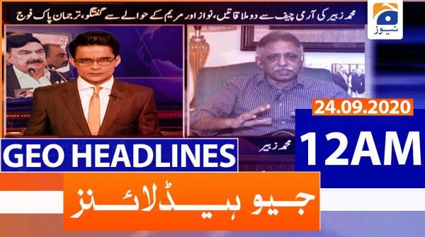 Geo Headlines 12 AM   24th September 2020