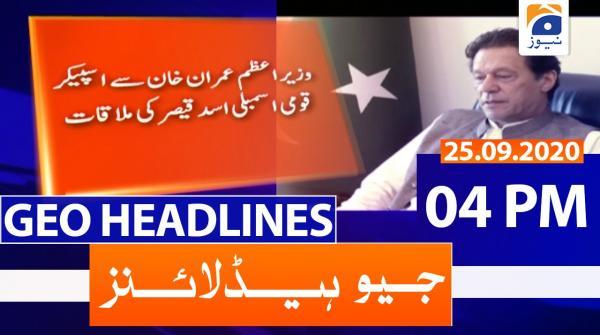 Geo Headlines 04 PM | 25th September 2020