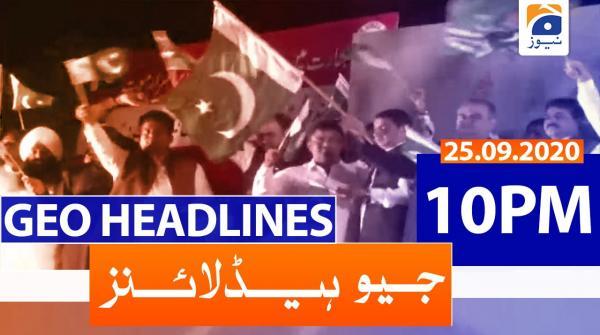 Geo Headlines 10 PM | 25th September 2020