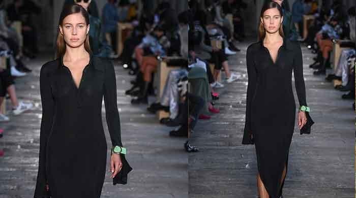 Brad Pitt's girlfriend Nicole Poturalski wows in maxi dress at Milan Fashion Week