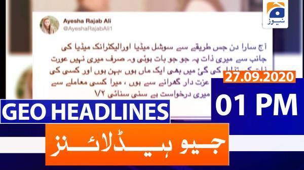 Geo Headlines 01 PM | 27th September 2020