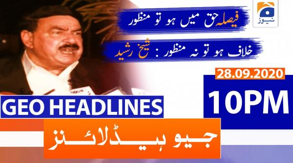 Geo Headlines 10 PM | 28th September 2020