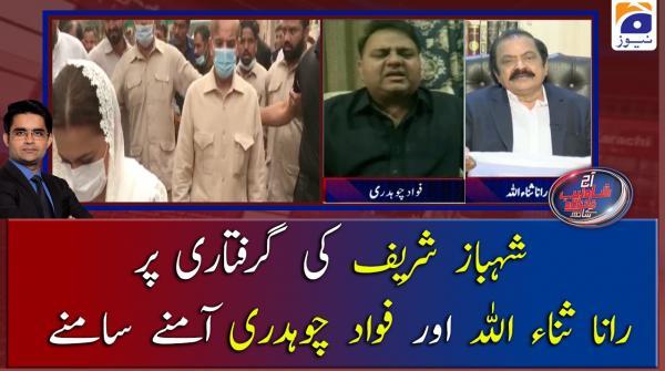 Shehbaz Sharif ke Giraftari par Rana Sanaullah aur Fawad Ch Aamney samney