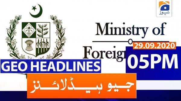 Geo Headlines 05 PM | 29th September 2020