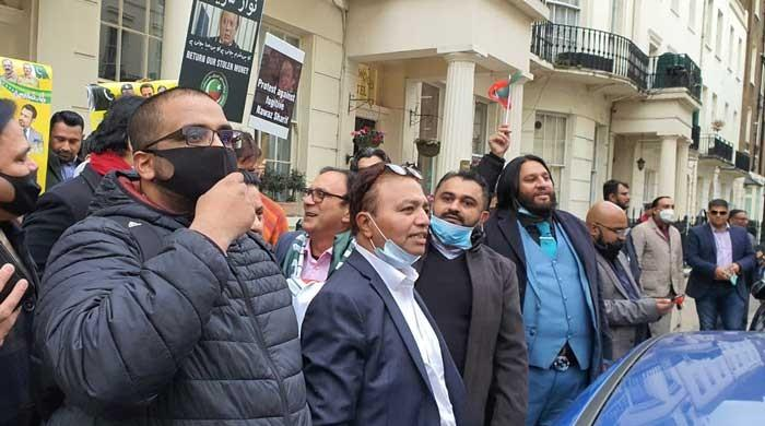 PMLN and PTI workers face off at London protest