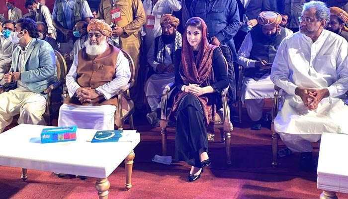 (L to R) Bilawal Bhutto, Maulana Fazlur Rehman, and Maryam Nawaz present at PDM's Karachi rally, on October 18, 2020. — Twitter