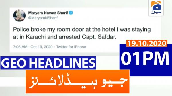 Geo Headlines 01 PM | 19th October 2020