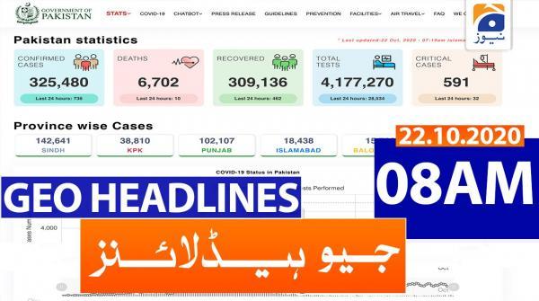 Geo Headlines 08 AM | 22nd October 2020