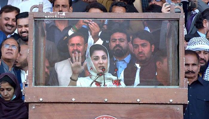 PML-N vice-president Maryam Nawaz Sharif addressing the PDM jalsa at Ayub Stadium, Quetta, on October 25, 2020. — INP