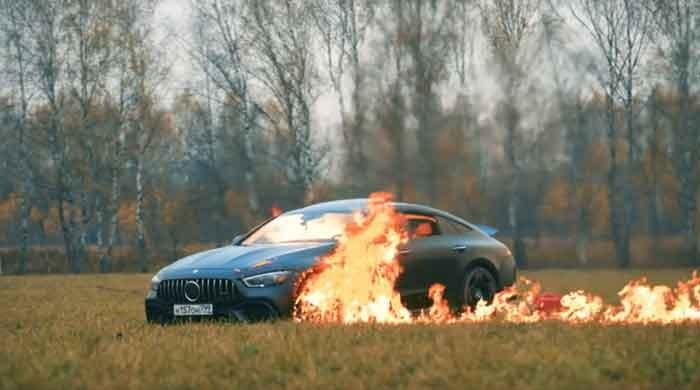 Russian YouTuber burns mercedes down in viral video