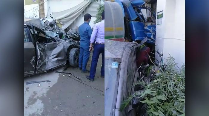 At least one killed, multiple wounded as water tanker rams into Karachi bank