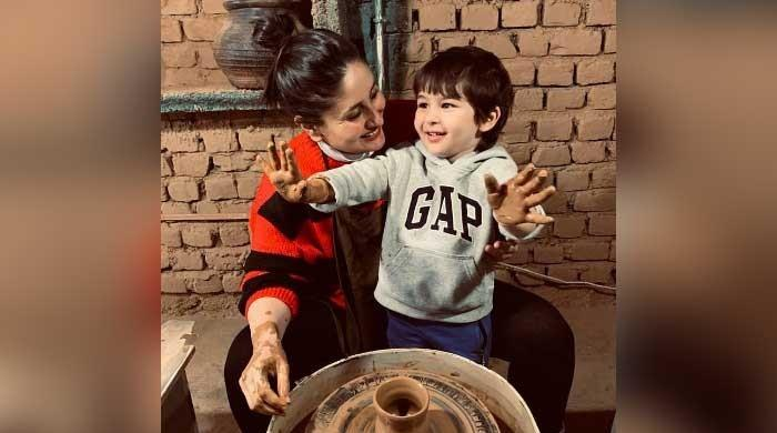 Kareena Kapoor, Taimur Ali Khan enjoy making pottery