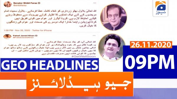 Geo Headlines 09 PM | 26th November 2020