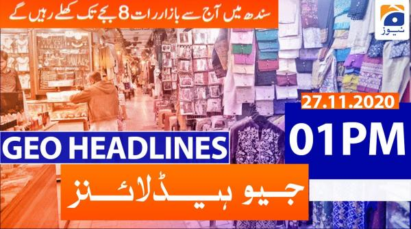 Geo Headlines 01 PM | 27th November 2020