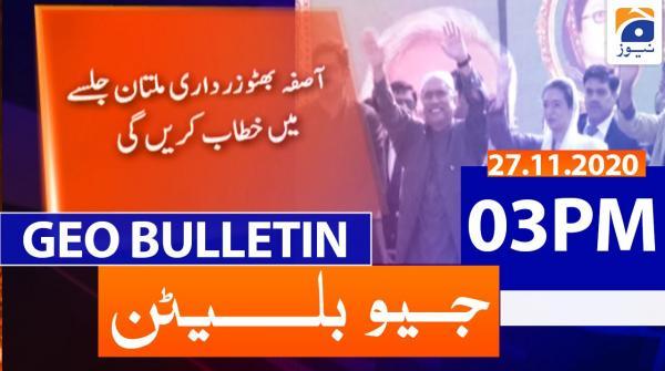 Geo Bulletin 03 PM | 27th November 2020